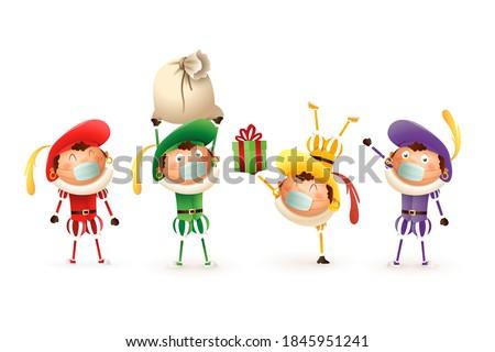 Saint Nicholas kids with anti virus mask celebrate Dutch holidays - cute vector illustration isolated on transparent background Stock photo ©