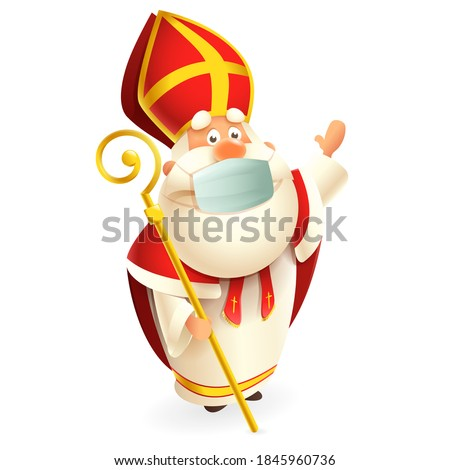 Saint Nicholas or Sinterklaas with anti virus mask celebrate Dutch holidays - cute vector illustration isolated on transparent background Stock photo ©