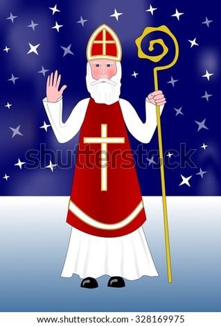 saint nicholas walks snowy