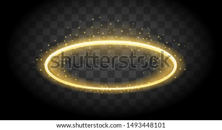 Saint nimbus circle. Heavenly halo, round angel glow, light angels aureole, holy religion peace ring vector icon