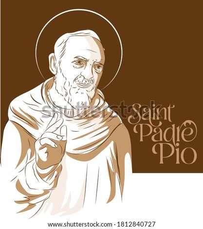 Saint Padre Pio vector sketch illustration Foto stock ©