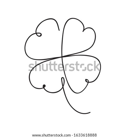 Saint patrick clover leaf, Continuous line art vector illustration Сток-фото ©