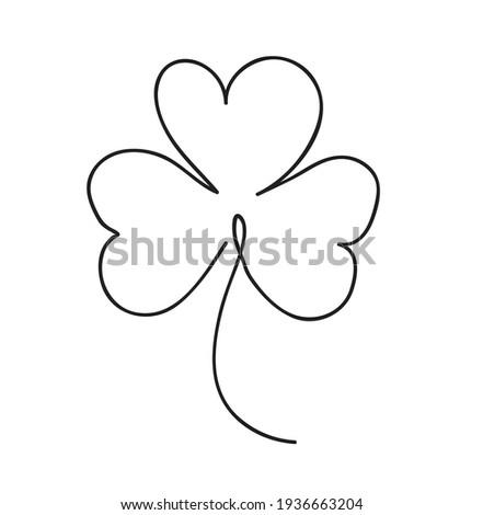 Saint patrick clover leaf, Continuous line art vector illustration Foto d'archivio ©