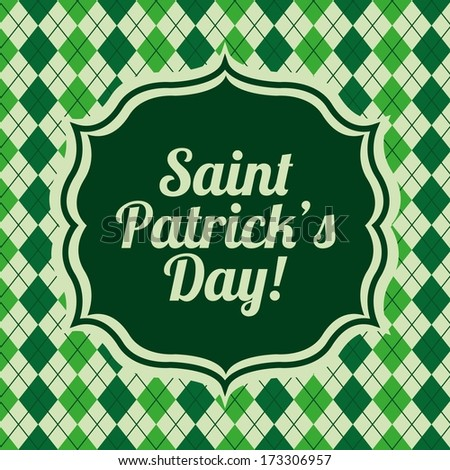 saint patrick day over pattern background vector illustration
