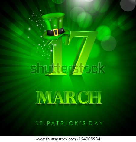 Saint Patrick's Day background or greeting card with Leprechaun Hat on green rays background. EPS 10.