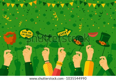 Saint Patrick's day carnival banner with hands holding carnaval masks and props. Vector illustration. Parade concept, photo booth party poster with confetti
