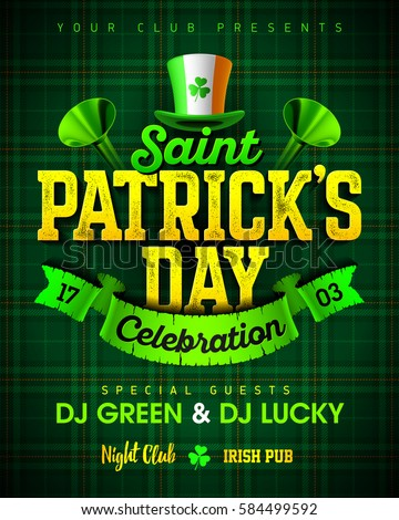 Saint Patrick's Day celebration party poster design with bright vintage lettering, leprechaun hat on green tartan background, 17 March nightclub invitation vector illustration