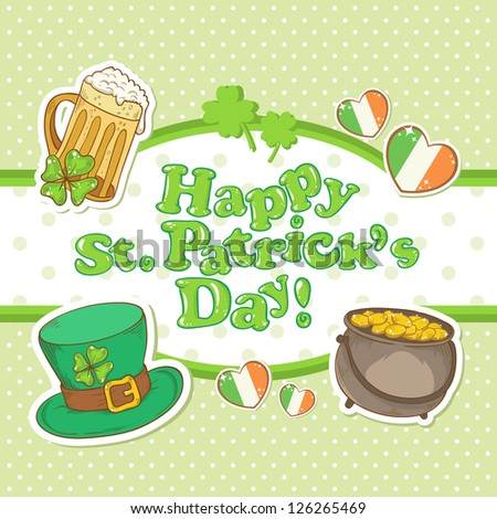 Saint Patrick's Day elements invitation postcard with greeting text on dot background