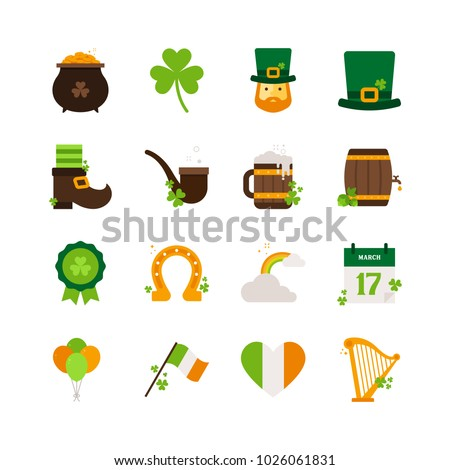 Saint Patrick's Day - Flat Icon Set - Pot of Gold, Clover Leaves, Leprechaun, Hat, Boots, Smoking Pipe, Beer, Barrel, Badge, Horseshoe, Rainbow, Calendar, Balloons, Flag, Heart and Harp