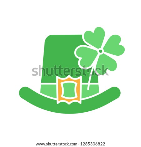 Saint Patrick's Day glyph color icon. March 17th. Leprechaun hat with four leaf clover. Silhouette symbol on white background with no outline. Negative space. Vector illustration