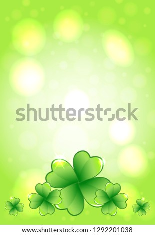 Saint Patrick's Day green vector frame with glowing lights and clover leaves. Irish festival celebration greeting card design background. Nature floral spring backdrop.