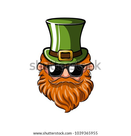 Saint Patrick s Day greeting card. Leprechaun with green hat, red mustache and beard and sunglasses. Vector illustration.