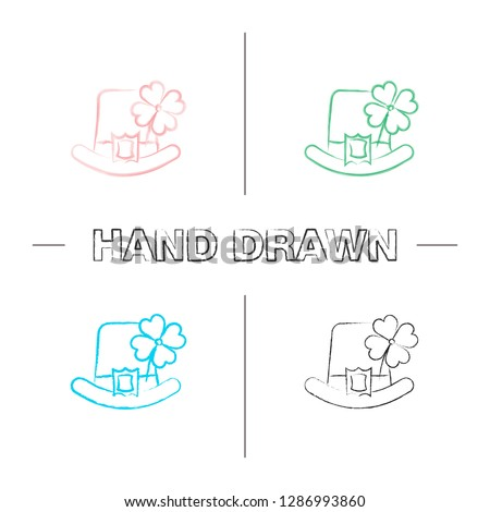 Saint Patrick's Day hand drawn icons set. March 17th. Leprechaun hat with four leaf clover. Color brush stroke. Isolated vector sketchy illustrations