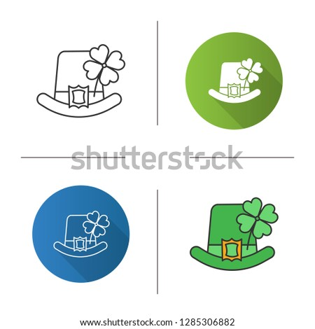 Saint Patrick's Day icon. March 17th. Leprechaun hat with four leaf clover. Flat design, linear and color styles. Isolated vector illustrations