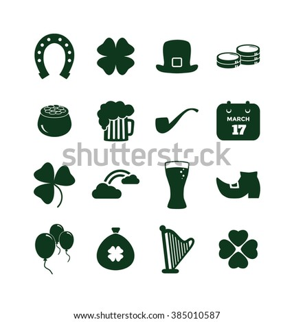 Saint Patrick's Day Icon Set - Sixteen Symbols of St Patrick's Day for Web and Print