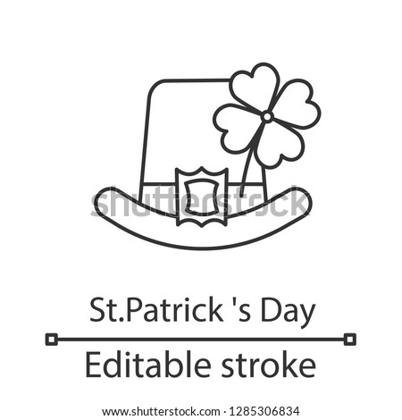 Saint Patrick's Day linear icon. Thin line illustration. March 17th. Leprechaun hat with four leaf clover. Contour symbol. Vector isolated outline drawing. Editable stroke