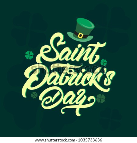 Saint Patrick's Day logotype. St.Patricks Day celebration design in  Lettering style. Hand sketched St.Patricks Day icon. Beer festival decoration badge
