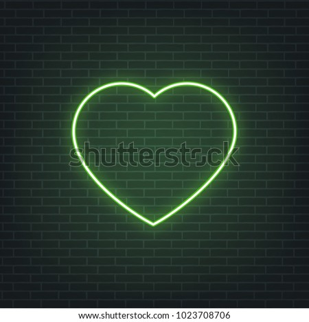Saint Patrick's Day. Neon glowing sign of Patrick's heart. Saint Patrick neon set