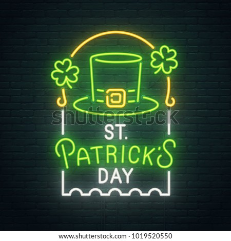 Saint Patrick's Day neon sign, bright signboard, light banner. St. Patrick's Day  logo, emblem and label