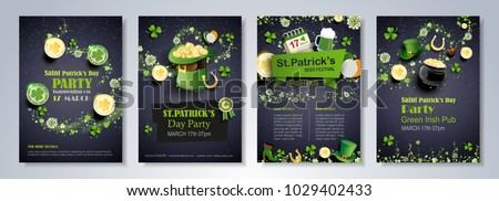 Saint Patrick's Day party flyer, brochure, holiday invitation, corporate celebration. leprechaun hat, shamrock, pot with gold coins, horseshoe, green ale on black background. Vector illustration.