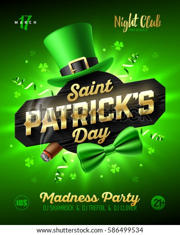 Saint Patrick's Day party poster design, 17 March nightclub invitation with leprechaun hat, gold lettering, party streamers, bow tie and smouldering cigar on bright shining green background, vector.