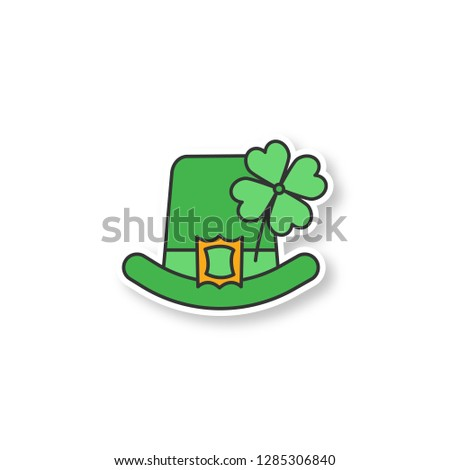 Saint Patrick's Day patch. March 17th. Leprechaun hat with four leaf clover. Color sticker. Vector isolated illustration
