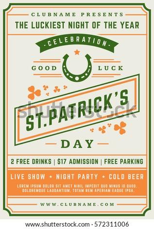 Saint Patrick's Day Retro Typographic Party Poster Background. Vintage Vector Illustration.