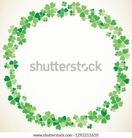 Saint Patrick's Day round light vector frame with small green four-leaf clover shamrock leaves. Irish festival celebration greeting card design background. Nature floral spring backdrop.
