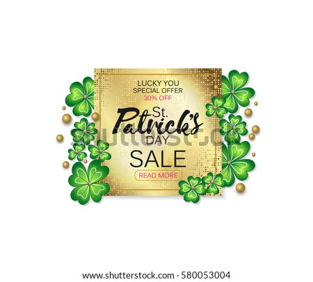 Saint Patrick's Day sale banner, advertising. Vector illustration. Golden plate with lettering and clover leaves on white background.