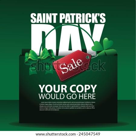 Saint Patrick's day sale shopping bag background EPS 10 vector stock illustration