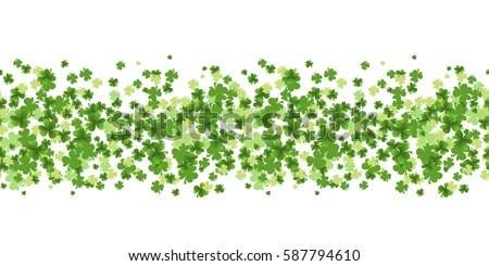 Saint Patrick's Day seamless pattern with Green Leaf Clovers on White Background. Luck and success symbols. Vector illustration.