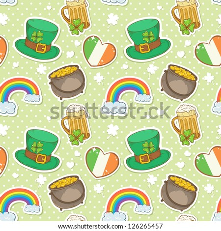 Saint Patrick's Day stickers elements seamless pattern, bowler with golden coins, rainbow, irish flag, mug of beer and leprechaun hat with lucky clover
