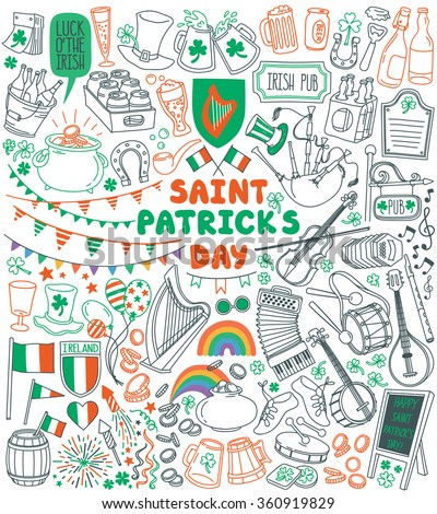 Saint Patrick's Day traditional symbols collection. Irish music, flags, beer mugs,  clover, pub decoration, rainbow, leprechaun hat, pot of gold coins. Vector illustration isolated on white background