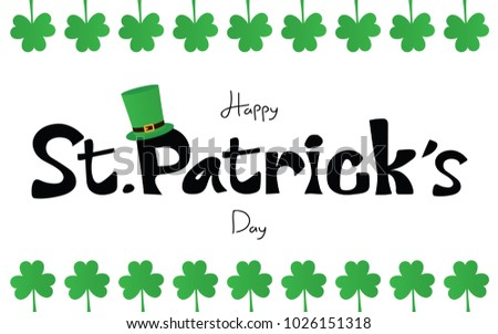 Saint Patrick's day vector and illustration, Irish celebration 17th March green hat and shamrock on white background