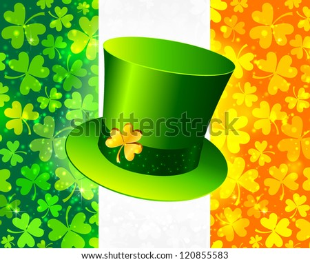 Saint Patrick's hat on Irish flag made from lucky magic clovers