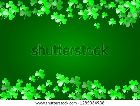 Saint patricks day background with shamrock. Lucky trefoil confetti. Glitter frame of clover leaves. Template for flyer, special business offer, promo. Decorative saint patricks day backdrop.