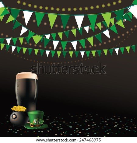 Saint Patricks Day dark beer party background EPS 10 vector royalty free stock illustration perfect for advertising, poster, announcement, invitation, party, greeting card, festival, parade