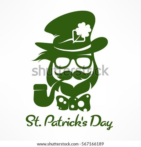 Saint Patricks Day hipster leprechaun with pipe, beard, hat and clover. Irish modern leprechaun face in green. Text. Vector illustration