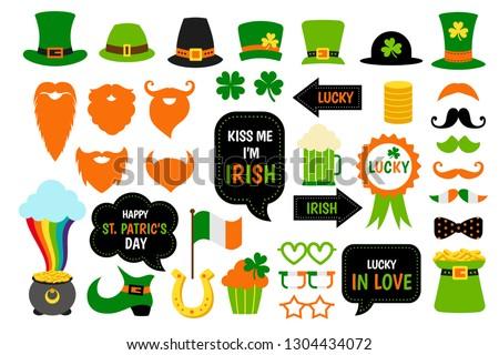 Saint Patricks Day photo booth props set. Vector shamrock, beard, leprechaun hat, pot with gold. Photobooth for irish party.