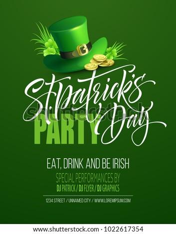 Saint Patricks Day Poster Design Background. Calligraphic Lettering Inscription Happy St Patricks Day. Vector Illustration EPS10