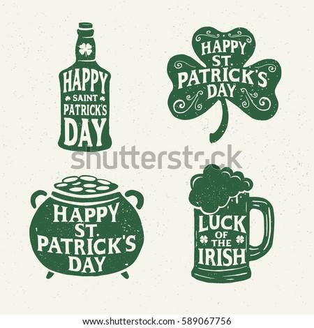 Saint Patricks Day. Retro Style. Set Emblems: leaf clover, pint beer, leaf clover, bottle of beer. Typography. Vector illustration.