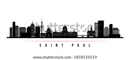 Saint Paul skyline horizontal banner. Black and white silhouette of Saint Paul City, Minnesota. Vector template for your design.