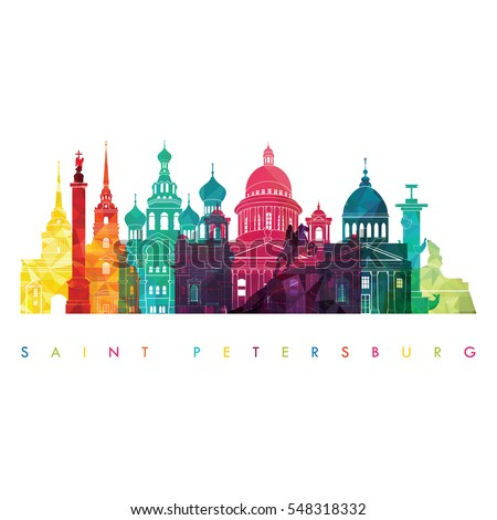 Saint Petersburg, Russia detailed skyline. Travel and tourism background. Vector illustration