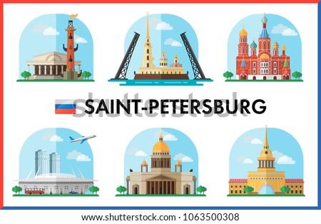 Saint-Petersburg, Russia. Vector illustration of city sights