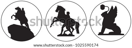 Saint-Petersburg Russian landmark vector icon, Peter the Great Bronze Horseman monument, Horse Tamers sculpture from Anichkov Bridge and Winged Lion from Bank Bridge
