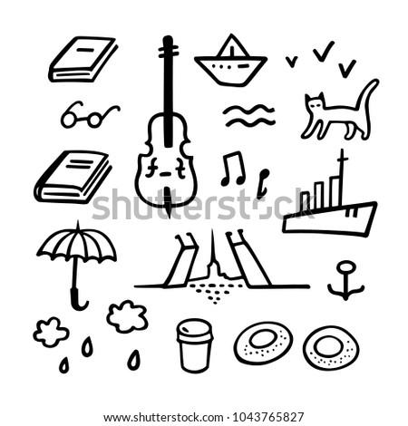 Saint-Petersburg set. Vector hand drawn illustration of SPb symbols and sights. Cute sketches for souvenir decoration or tourist postcard