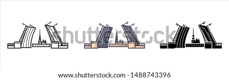 Saint Petersburg sigtseeing and landmark - glyph icons, outline and colored flat signs, palace drawbridge and Admiralty, view of the city, bridge and fortress, the cultural capital of Russia, vector