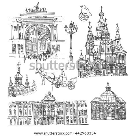 saint petersburg vector sketch