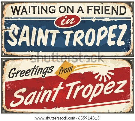saint tropez retro signs set on ...