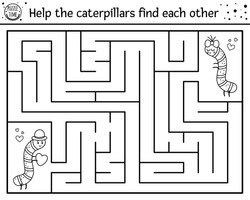 Saint Valentine day black and white maze for children. Holiday preschool printable activity. Funny line game with insects. Romantic puzzle or coloring page. Help the caterpillars find each other